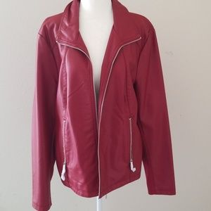 Red Kenneth Cole Reaction Faux Leather Jacket